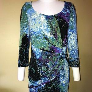 Julie Dillon Watercolor Blue Teal Black Dress 🌞